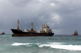 'MV NGOC Son' ran aground on the reef to the south of Fuvahmulah while carrying water and sewerage material to the island for Sri Lankan contractor Sierra.. PHOTO/MNDF