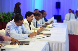 Representatives of resorts sign the agreement to conserve sections of their islands' coral reefs at the Tourism Industry Forum. PHOTO: NISHAN ALI/MIHAARU