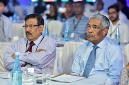 Universal Group's chairman Mohamed Umar Manik (L) and local tycoon Champa Hussain Afeef attend the Destination Marketing and Promotion Conference. PHOTO: NISHAN ALI/MIHAARU