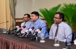 Fisheries minister Dr Shainee (2nd L) flanked by fellow members of the national economic council during a press conference on Thursday. MIHAARU PHOTO/HUSSAIN SHAYAAH