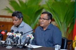 Minister at the President's Office and national economic council chair Ahmed Zuhoor (R) speaks during the press conference on Saturday. PHOTO/PRESIDENT'S OFFICE