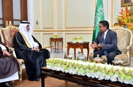 The meeting between president Abdulla Yameen Abdul Gayoom and the Saudi education minister Dr Ahmed Al-Issa. PHOTO/PRESIDENT'S OFFICE
