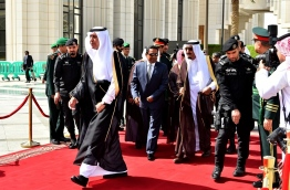 President Abdulla Yameen Abdul Gayoom has been officially received by King Salman bin Abdulaziz Al-Saud upon arrival in Saudi Arabia on Tuesday. PHOTO/PRESIDENT'S OFFICE