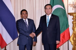 President Abdulla Yameen Abdul Gayoom (L) during his official visit to Thailand in March 2016. PHOTO/PRESIDENT'S OFFICE