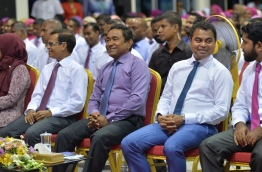 President Yameen (2nd R) smilesduring the ceremony held in Fuvahmulah city to inaugurate a new water and sewerage system project on Monday. PHOTO/PRESIDENT'S OFFICE
