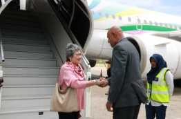 Thailand's Minister of Commerce Apiradi Tantraporn welcomed at Ibrahim Nasir International Airport (INIA) upon her arrival for the second Maldives-Thailand Joint Trade Committee meeting. PHOTO/ECONOMIC MINISTRY