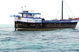 The India cargo vessel that ran aground a reef near Lhaviyani Atoll Kuredhoo island. PHOTO/MNDF