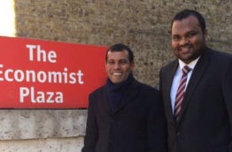 Former president Nasheed (L) pictured with MDP chairperson Ali Waheed in UK.