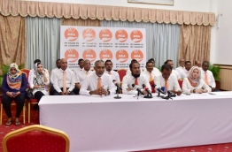 MDA council members pictured during a press conference on Thursday. MIHAARU PHOTO/MOHAMED SHARUHAAN