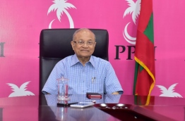 Ruling PPM leader Gayoom smiles during a meeting in his party office. MIHAARU FILE PHOTO/MOHAMED SHARUHAAN