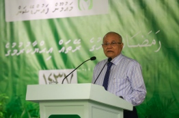 Former president and PPM president Gayoom pictured speaking during a ceremony. MIHAARU PHOTO/MOHAMED SHARUHAAN