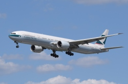 Cathay Pacific aircraft pictured in flight.