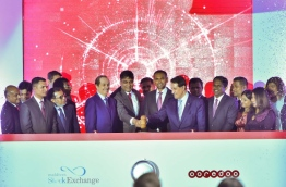 Top executives of Ooredoo Maldives at the ceremony held to mark conversion of Ooredoo Maldives to a public company. PHOTO: MOHAMED SHARUHAAN/MIHAARU