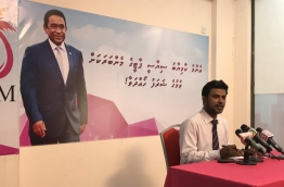 President's Office spokesperson Ibrahim Muaz Ali speaks at press conference launching First Lady Fathimath Ibrahim's campaign to upsurge membership for PPM. PHOTO/AZHAR