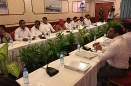 Photograph of President Yameen's PPM council meeting showing his nephew Ghassan Maumoon in attendance. PHOTO/MP AHMED NIHAN
