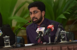 Home minister Azleen Ahmed speaking to reporters. PHOTO: NISHAN ALI/MIHAARU