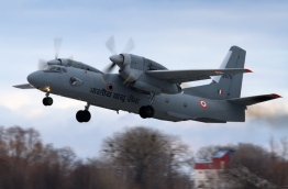 An AN-32 military transport aircraft that accompanied the three squadron aircrafts to Maldives on November 3, 1988.