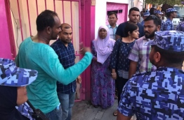 Supporters of Maumoon standing in-front of Former PPM office PHOTO:Mohamed Sharuhaan/Mihaaru