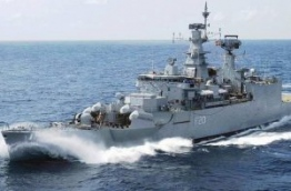 INS Godavari, the Indian frigate that assisted in stopping the freighter MV Progress Light commandeered by Sri Lankan mercenaries after the coup on November 3, 1988.