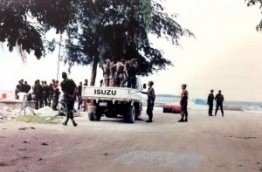 Soldiers of the Indian army inspecting Male on a jeep to find any remaining Sri Lankan mercenaries that might be in hiding after the coup on November 3, 1988.