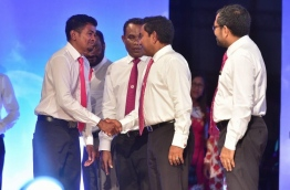 "President Abdulla Yameen Abdul Gayoom greets attendees at the ""true"" PPM rally. PHOTO: MOHAMED SHARUHAAN/MIHAARU"