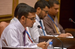 Finance minister Ahmed Munawar speaks at parliament about State Budget 2017. PHOTO/MAJLIS