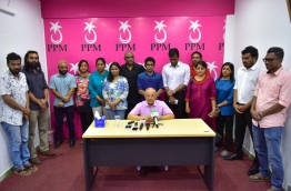 PPM leader and former president Maumoon Abdul Gayoom with his faction of PPM members. PHOTO: NISHAN ALI/MIHAARU