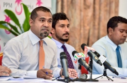 Secretary General of PPM appointed from President Yameen's faction, Dr Abdullah Khaleel speaks to reporters. PHOTO: NISHAN ALI/MIHAARU