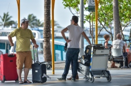 Tourists pictured at Ibrahim Nasir International Airport. MIHAARU PHOTO