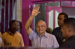 Former president and PPM leader Maumoon Abdul Gayoom waves to his supporters outside the PPM Office. PHOTO/MIHAARU