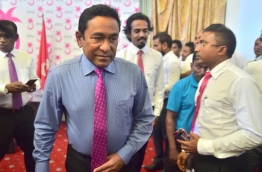 President Yameen exits Dharubaaruge after the PPM council meeting. PHOTO: MOHAMED SHARUHAAN/MIHAARU