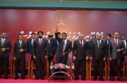 President Yameen (C) lifts his hand in salute after the official celebration of Republic Day 2016. PHOTO/PRESIDENT'S OFFICE