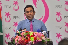 President Yameen speaking at Dharubaaruge Convention Center. PHOTO: Mohamed Sharuhaan/Mihaaru