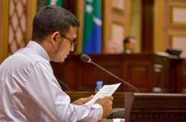 Finance minister Ahmed Munawar proposes the State Budget 2017 to the parliament last Monday. PHOTO/MAJLIS