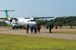 Passengers about to board a Flyme aircraft at Kaadehdhoo Airport. PHOTO/VILLA AIR