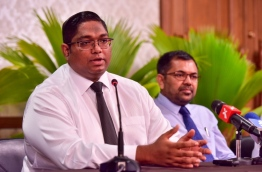 Attorney General Mohamed Anil speaks to reporters. PHOTO: NISHAN ALI/MIHAARU
