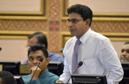 Thulusdhoo MP Mohamed Waheed Ibrahim speaks during parliamentary session. PHOTO: Parliament Secretariat