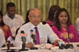 Former President Maumoon Abdul Gayoom at a press conference. PHOTO: MOHAMED SHARUHAAN/MIHAARU