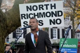 Former President Mohamed Nasheed speaks at the protest against the expansion of Heathrow Airport in the UK.