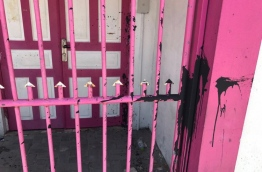 Crude oil thrown on the gates and walls of PPM Office operated in Themaa House in Henveiru ward of capital Male.