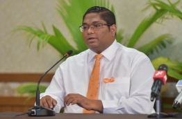 Attorney General Mohamed Anil speaks to reporters at press conference. PHOTO: MOHAMED SHARUHAAN/MIHAARU