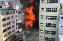 Brotherhood Group's warehouse in capital Male on fire. PHOTO: MOHAMED SHARUHAAN/MIHAARU