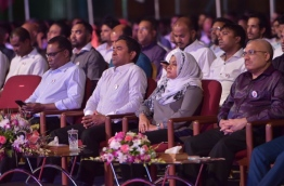 "President Yameen and First Lady Fathimath Ibrahim at the ""Habeys 3"" Rally PHOTO:Mohamed Sharuhaan/Mihaaru"