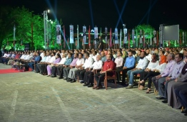 "During the ""Habeys 3"" rally held by PPM to celebrate the third anniversary of its government. PHOTO: MOHAMED SHARUHAAN/MIHAARU"