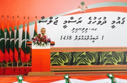 Vice President giving the Inauguration Speech at National Day Official Ceremony at GA.Villingilli PHOTO: President Office