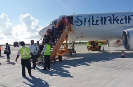 The inaugural flight of Sri Lankan Airlines at Gan International Airport in Addu atoll. PHOTO: AHMED ADHSHAN/MIHAARU