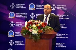 Chief Justice Abdulla Saeed speaking at the Colloquium PHOTO: President Office