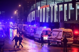 The car bomb exploded in the heart of Istanbul on late December 10, wounding around 20 police officers, Turkey's interior minister said, quoted by the official Anadolu news agency. The bomb, apparently targeting a bus carrying police officers, exploded outside the stadium of Istanbul football club Besiktas following its match against Bursaspor. / AFP PHOTO / YASIN AKGUL
