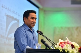 President Yameen speaks at ceremony. PHOTO/PRESIDENT'S OFFICE