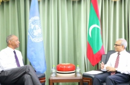 Tamrat Samuel, senior advisor to the United Nations' department of political affairs, meets with Foreign Minister Dr Mohamed Asif on his last visit.